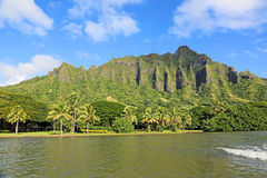 View from Fishpond on Kualoa Cliffs Stock Images