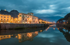 View of Fiume Liri by night, Sora, Ciociaria Stock Photo