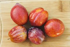 Top View of 5 Amigo Pluot Fruits on a Wood Chopping Board stock photo