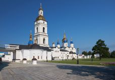 St Sophia-Assumption Cathedral with the belfry. Tobolsk Kremlin. Tobolsk. Tyumen Oblast. Russia. The view of five-domed St Sophia-Assumption Cathedral with the royalty free stock images