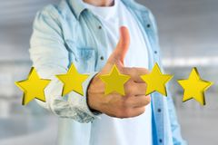Five yellow stars on a futuristic interface - 3d rendering Stock Photography