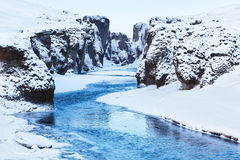 View of  Fjadrargljufur canyon and Fjadra river in winter. Royalty Free Stock Photo