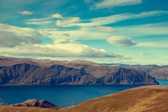 Nordkapp. Mageroya island. The northernmost point of Europe. View of the fjord. Beautiful nature of Norway. Arctic bay. Mageroya island. Nordkapp Royalty Free Stock Photography