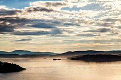 View on fjord landscape from sea, Norway Royalty Free Stock Photos