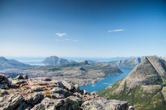 View with fjord and the ocean from a peak in Northern Norway Royalty Free Stock Photo