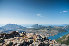 View with fjord and the sea from a peak in Northern Norway Royalty Free Stock Photos