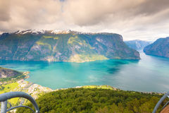 View of the fjords at Stegastein viewpoint in Norway Stock Photography