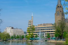 View of Flagey public square on sunny day,  Brussels stock photo