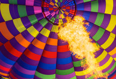 View of the flame inside of a hot air balloon Stock Image