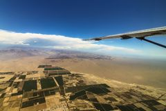 View of the flat fields on the way to the Nazca Lines stock photo