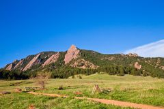Flatirons Boulder Colorado Chautauqua Park. View of Flatirons Mountains seen from Chautauqua Open Space Park in Boulder Colorado Stock Images