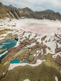 View from the flight of mountain lake with icebergs, glacier national park, usa Royalty Free Stock Photo