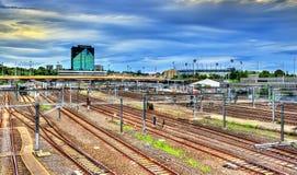 View of Flinders Street railway station in Melbourne, Australia. View of Flinders Street railway station in Melbourne - Australia, Victoria Stock Images