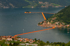 view of the floating piers, Christo, Iseo lake Stock Photo