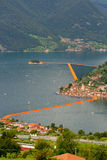 View of the floating piers, Christo, Iseo lake Stock Photography