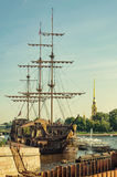 The view of the floating restaurant Flying Dutchman from the Birzhevoy bridge. Stock Image