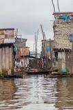 Belen neighborhood of Iquitos. View of floating shantytown in Belen neigbohood of Iquitos, Peru royalty free stock photography