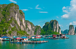 View of floating village in Halong Bay Stock Photos