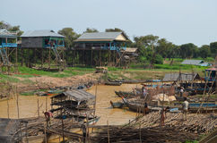 View of the floating village of Kompong Pluk Royalty Free Stock Images
