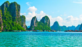 View of floating village and rock islands. In Halong Bay, Vietnam, Southeast Asia stock image
