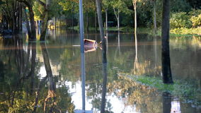 View of the flooded alley and nice reflection in the water stock footage