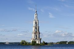 View of the flooded bell tower of St. Nicholas Cathedral in Kalyazin royalty free stock images