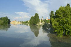 View of Flooded Gyor Town at Sunset Stock Photo