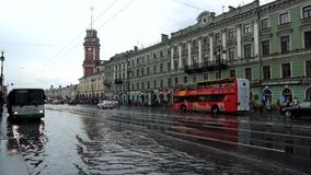 View flooded after heavy rains Nevsky Prospekt in St. Petersburg. Russia. stock video