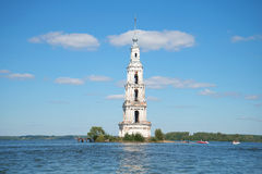 View of the flooded historic bell tower of St. Nicholas Cathedral in the Uglich reservoir Stock Images