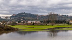 View of the flooding in San Miniato, Pisa, Tuscany, Italy. Europe, in the winter season stock photos