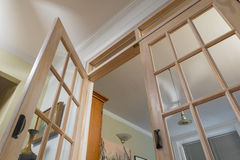 View from floor of french doors and ceiling Royalty Free Stock Photography