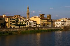 View of Florence from Arno river Stock Photo