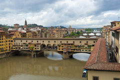 View of Florence, Arno River and Ponte Vecchio Royalty Free Stock Image