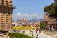 View of Florence from the Boboli Gardens near the Pitti Palace, royalty free stock photo