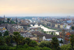 View of Florence, bridges and the Arno River Royalty Free Stock Photo