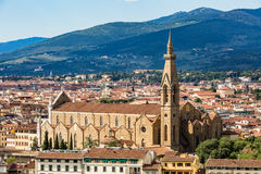 View of Florence cityscape overlook to Basilica di Santa Croce d Stock Image