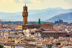 View of Florence cityscape overlook to Palazzo Vecchio. Florence cityscape overlook to Palazzo Vecchio Stock Photos