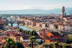 Florence cityspace from Piazzale Michelangelo in Italy. View of Florence cityspace from Piazzale Michelangelo in Italy royalty free stock image