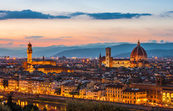 View of Florence at dusk Stock Images