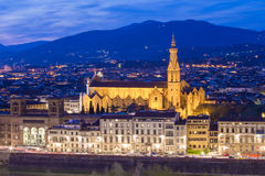 View of Florence at dusk from Piazzale Michelangelo in Florence, Royalty Free Stock Images