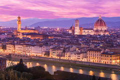 View of Florence at dusk from Piazzale Michelangelo in Florence, Stock Image