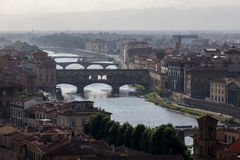View of Florence in the evening light with the Ponte Vecchio bridge. Italy Stock Image