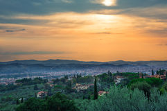 View on Florence from the hills. Florence view from the hills at the sunset Stock Photo