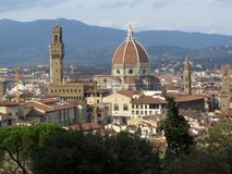 View of Florence Italy. Photo florence italy as seen from an overlook near the boboli gardens.  Seen here are the florence cathedral-duomo and the vecchio palace Royalty Free Stock Photo