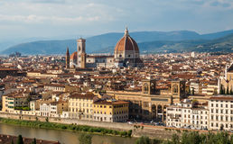 View of Florence, Italy. View of Duomo and Giotto`s bell tower Santa croce from Piazzale Michelangelo Royalty Free Stock Photos