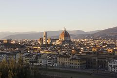View of Florence, Italy from Piazza Michaelangelo. Including the Duomo and the Bell Tower Stock Images
