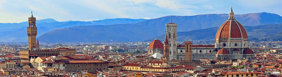 View of Florence with Old Palace and Dome of Cathedral from Mich. View of Florence in Italy with Old Palace and Dome of Cathedral from Michelangelo Square Stock Image