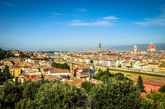 The view of Florence from Piazzale Michalangelo Square royalty free stock photo