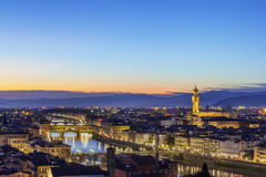 View of Florence with Ponte Vecchio, Italy Royalty Free Stock Photo