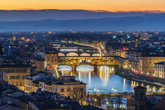 View of Florence with Ponte Vecchio, Italy Stock Images